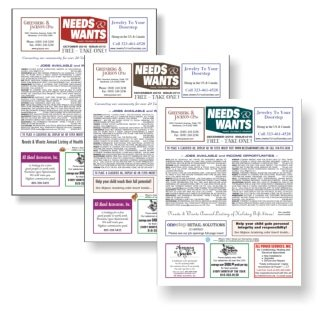 Needs and Wants newspaper Advertise with Us