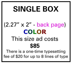 Needs and Wants newspaper Single Box Ad Back Page