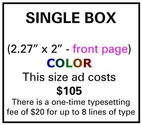 Needs and Wants newspaper Single Box Ad Front Page